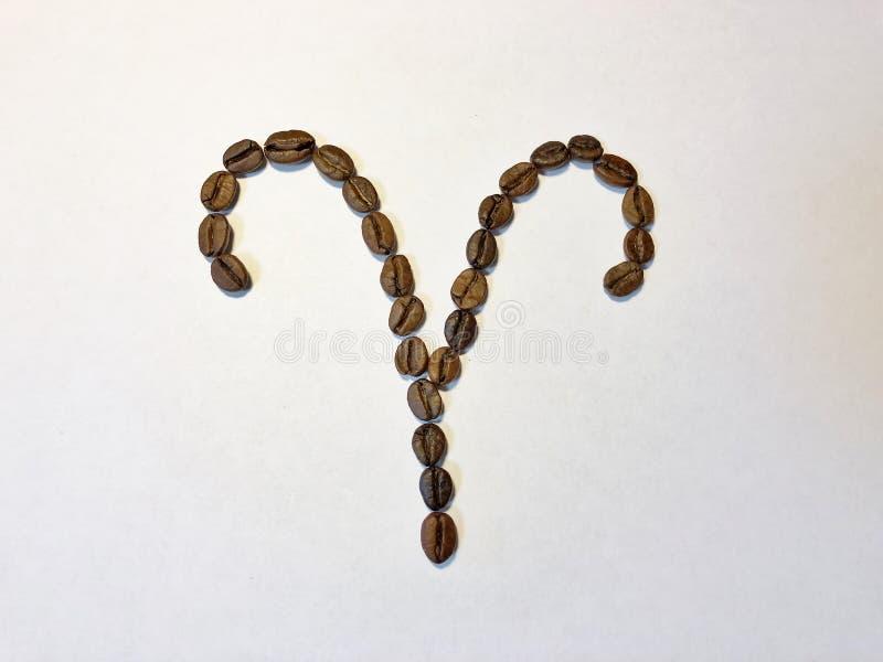 Zodiakteckenvädur från kaffebönor isolate arkivbild