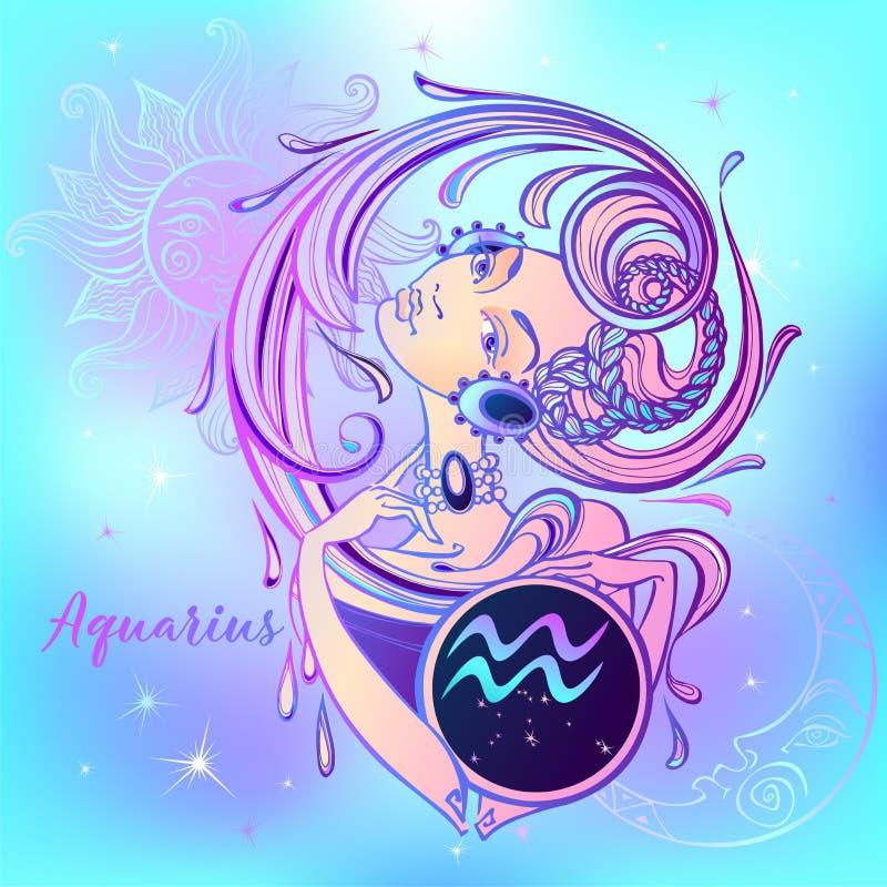 ZodiakteckenVattumannen en härlig flicka horoskop grensle vektor vektor illustrationer