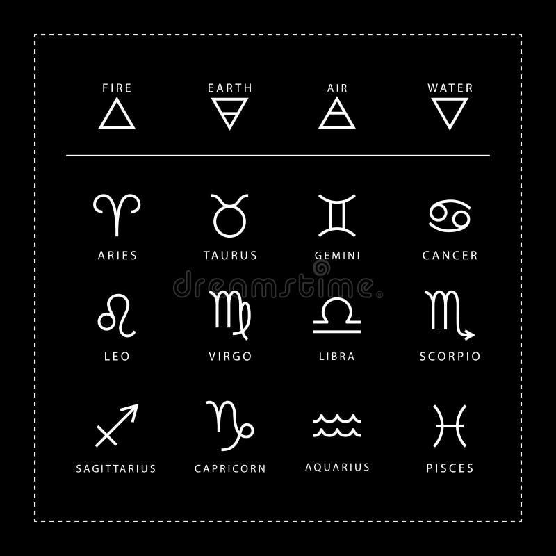 Zodiaktecknet skisserar stilvektoruppsättningen som isoleras på svart bakgrund stock illustrationer