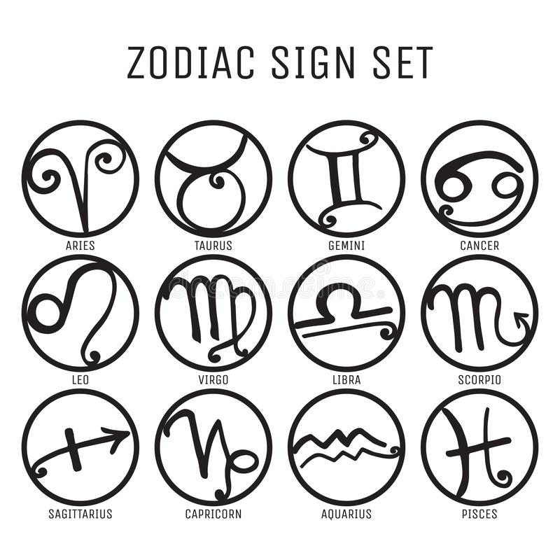 Zodiaktecknet ställde in på vit royaltyfri illustrationer