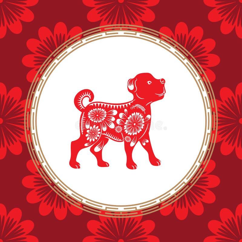 Zodiaque chinois d'année de chien Chien rouge avec l'ornement blanc Le symbole de l'horoscope oriental illustration libre de droits