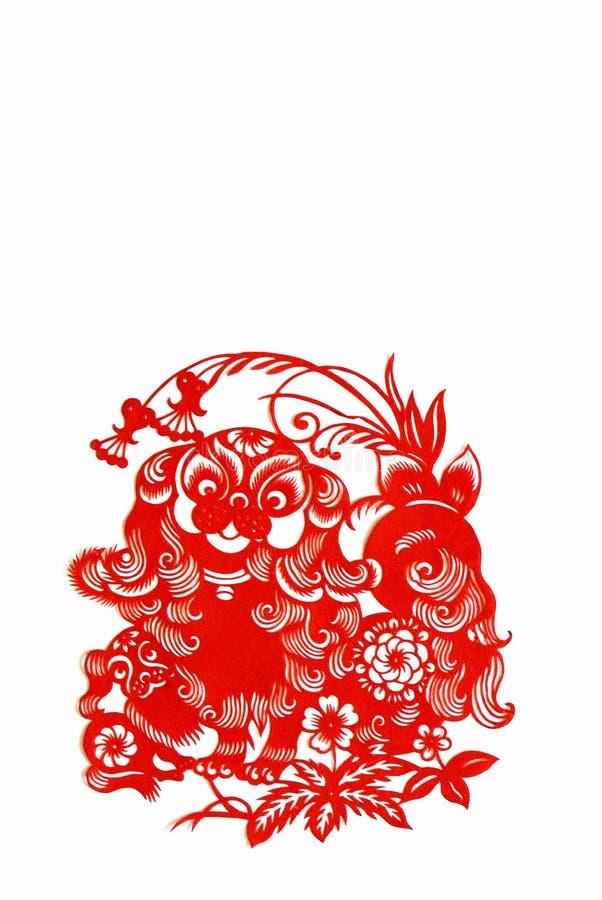zodiaque chinois de papier de crabot de découpage photographie stock