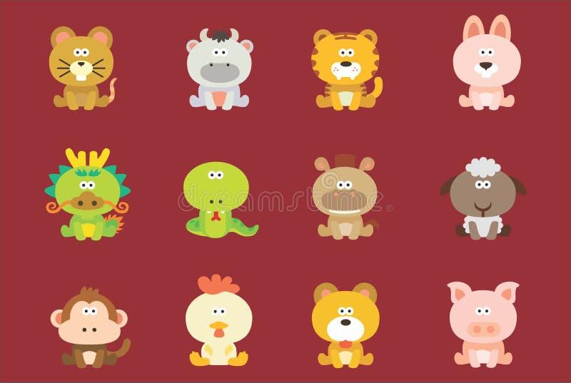 Zodiaque chinois mignon illustration stock