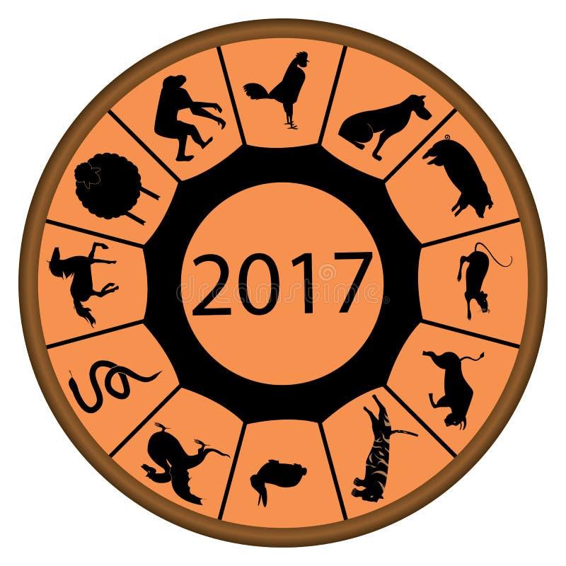 Zodiaque chinois pour 2017 avec le coq sur le dessus illustration stock