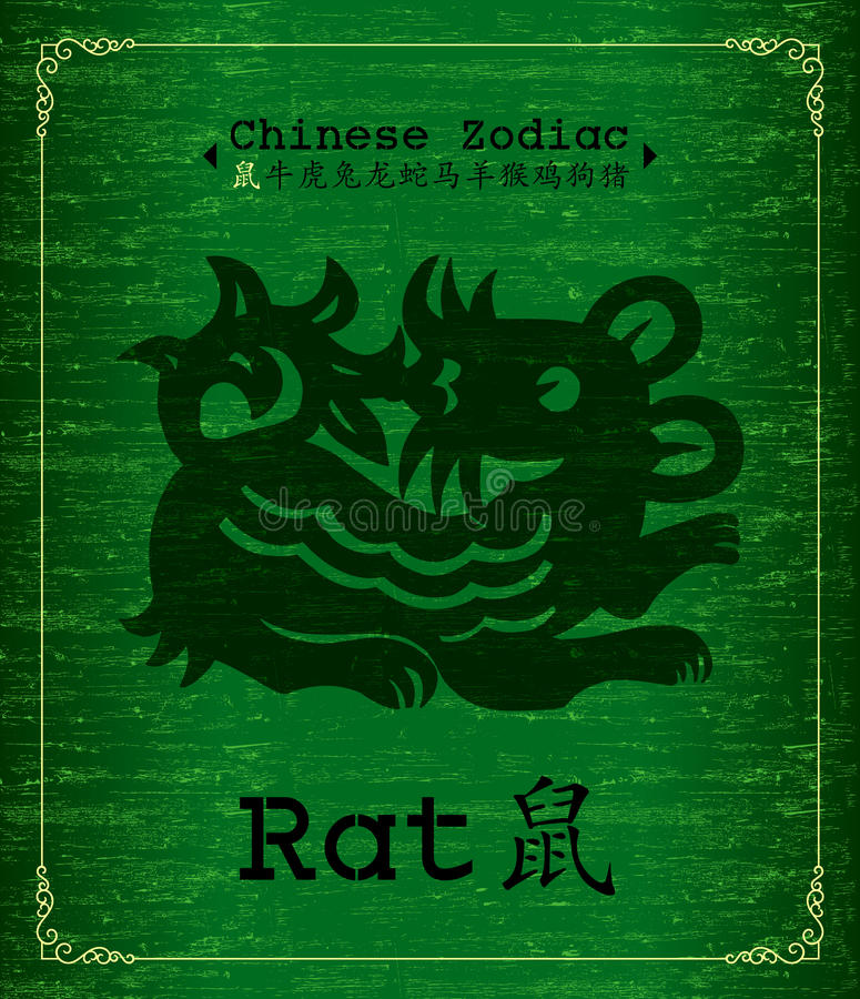 Zodiaque chinois - rat illustration libre de droits