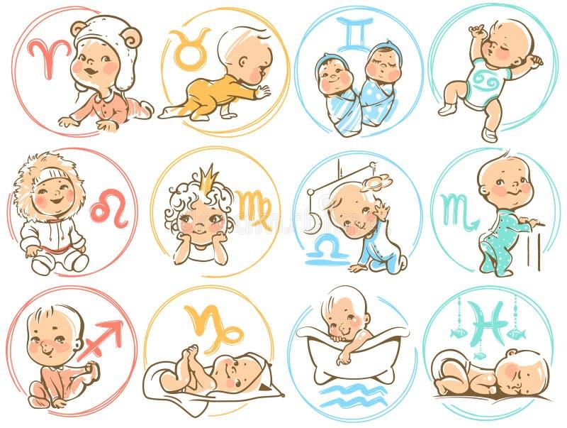 Zodiaque de bébé Sighns d'horoscope comme enfants de bande dessinée illustration libre de droits