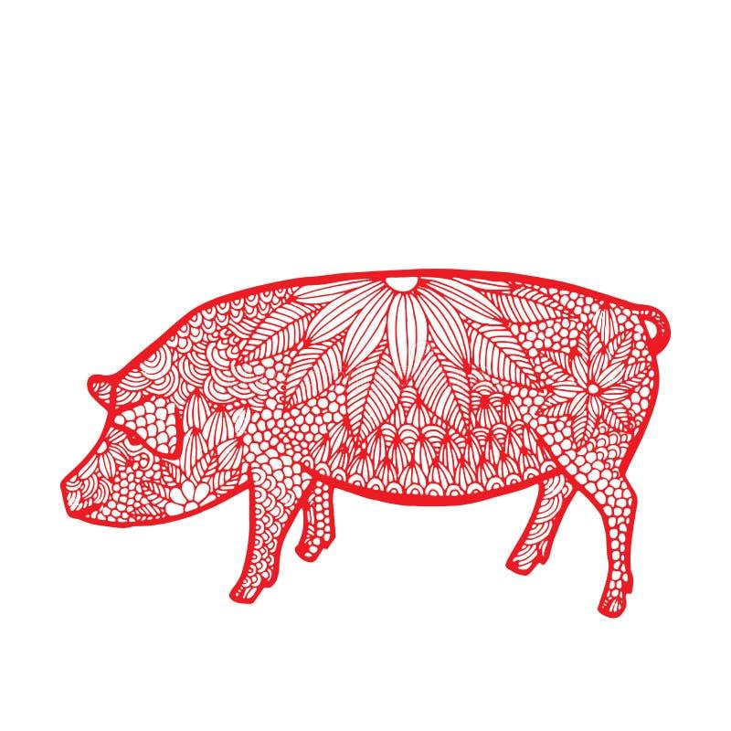 Zodiaque de Chinois de porc illustration stock