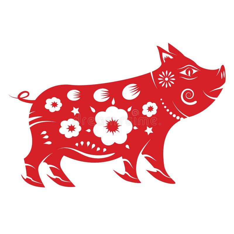 Zodiaque de porc Concept 2019 chinois de nouvelle ann?e Thème d'art de papier et de conception graphique illustration de vecteur