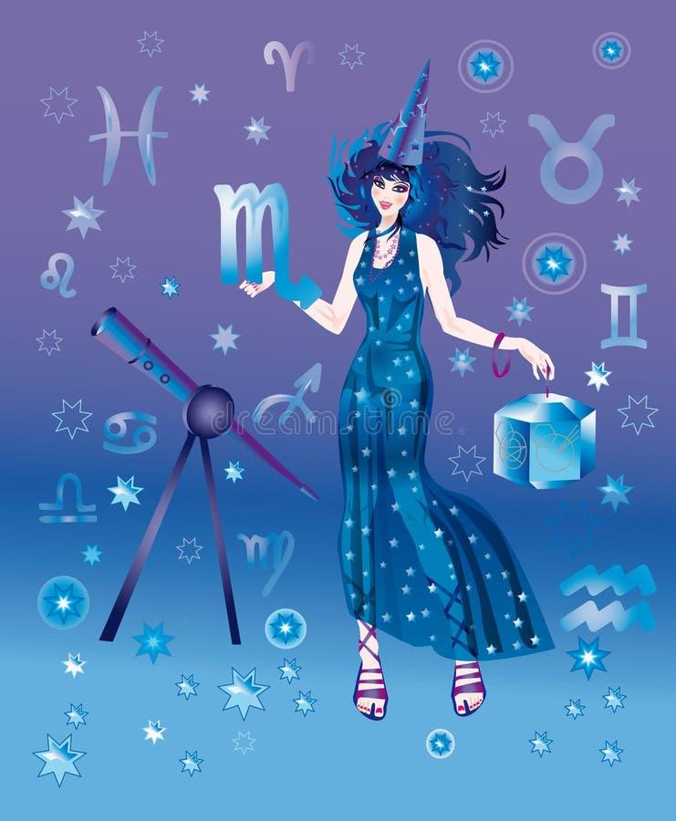 zodiaque de signe de Scorpion d'astrologue illustration libre de droits