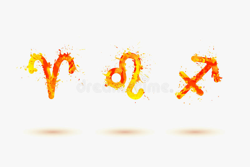 Zodiaque de vecteur Élément du feu Bélier, Lion, Sagittaire illustration de vecteur