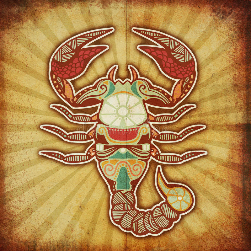 Zodiaque grunge - Scorpion illustration stock