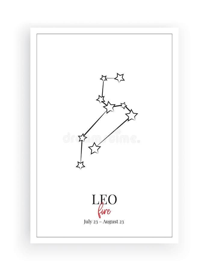 Zodiaque Leo Sign Stars, signe de Lion de symbole, conception minimaliste d'affiche, vecteur, conception graphique, décalques de  illustration stock