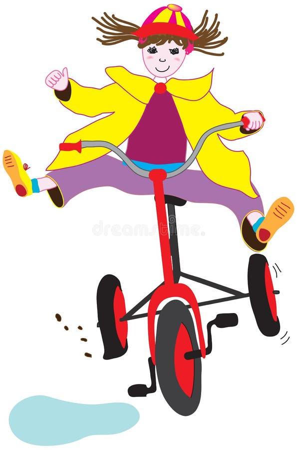 Zoe em sua bicicleta ilustração stock