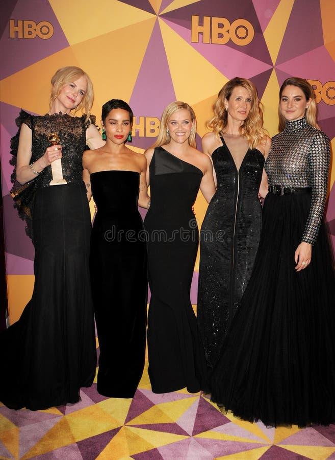 Zoe Kravitz, Reese Witherspoon, Laura Dern, Shailene Woodley och Nicole Kidman arkivfoton