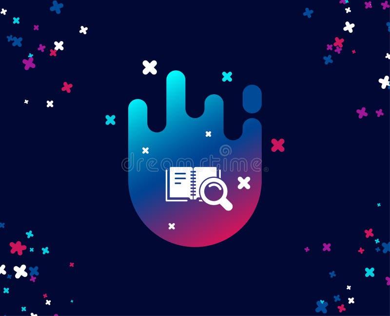 Zoek in Boek eenvoudig pictogram Onderwijssymbool stock illustratie