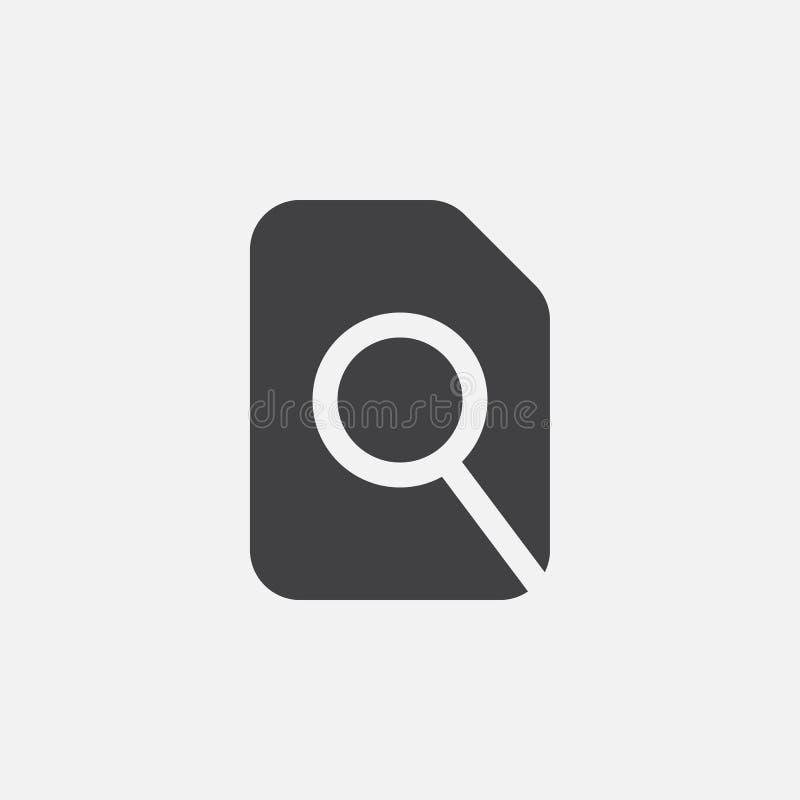 Zoek in de Vectordieillustratie van het dossierpictogram op wit wordt geïsoleerd royalty-vrije illustratie