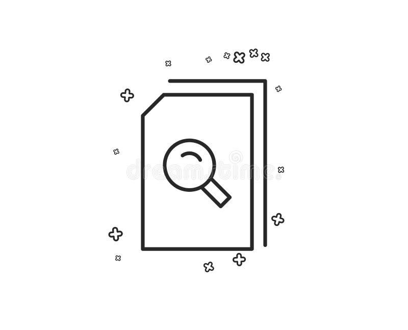 Zoek documenteert lijnpictogram Dossier met meer magnifier Vector royalty-vrije illustratie