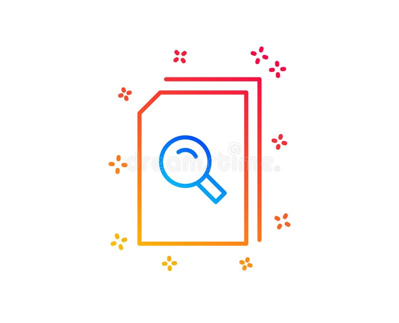 Zoek documenteert lijnpictogram Dossier met meer magnifier Vector stock illustratie