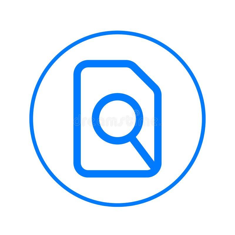 Zoek in dossier, vergrootglas en document cirkellijnpictogram Rond kleurrijk teken Vlak stijl vectorsymbool royalty-vrije illustratie