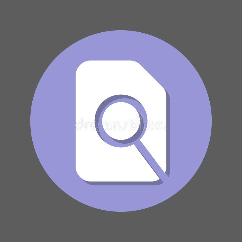 Zoek in dossier, vergrootglas en document vlak pictogram Ronde kleurrijke knoop, cirkel vectorteken met schaduweffect stock illustratie
