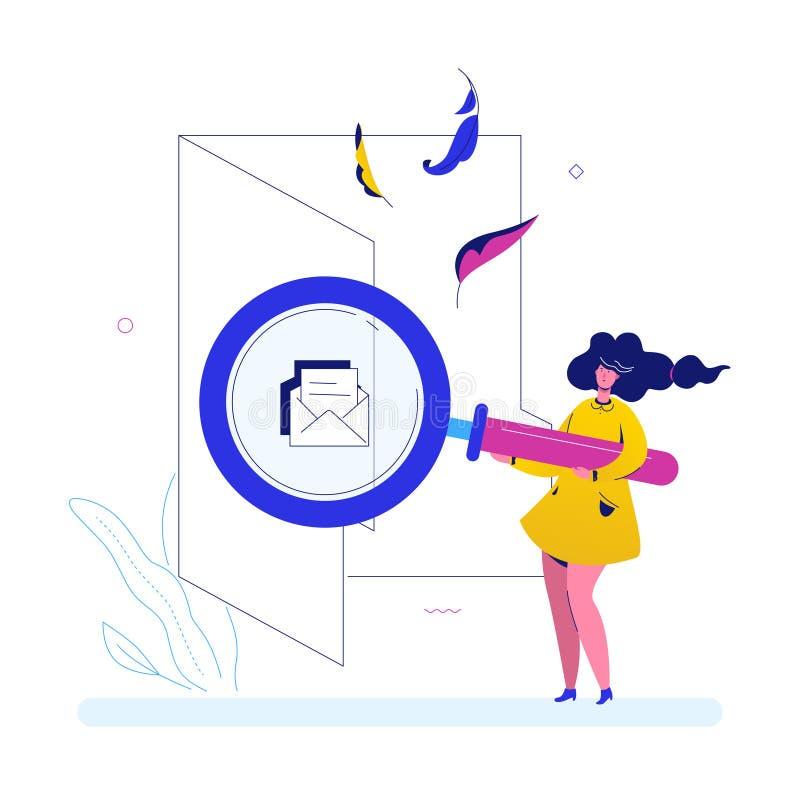 Zoek in een omslag - de vlakke kleurrijke illustratie van de ontwerpstijl stock illustratie