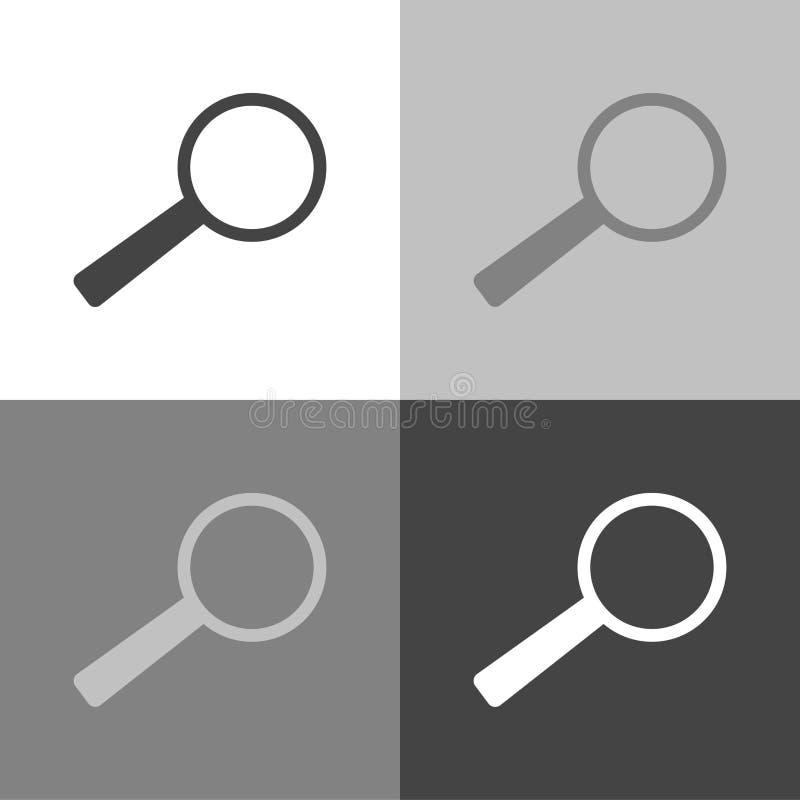 Zoek en overdrijft pictogram meer magnifier of loupe teken Vastgestelde vectorico royalty-vrije illustratie