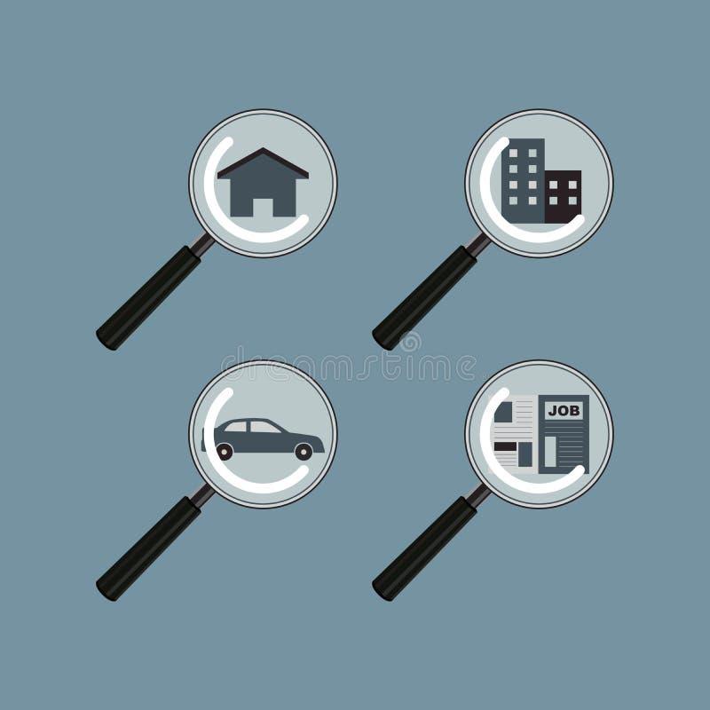 Zoek en vindt het landgoedauto Job Vector van het huisbezit stock illustratie
