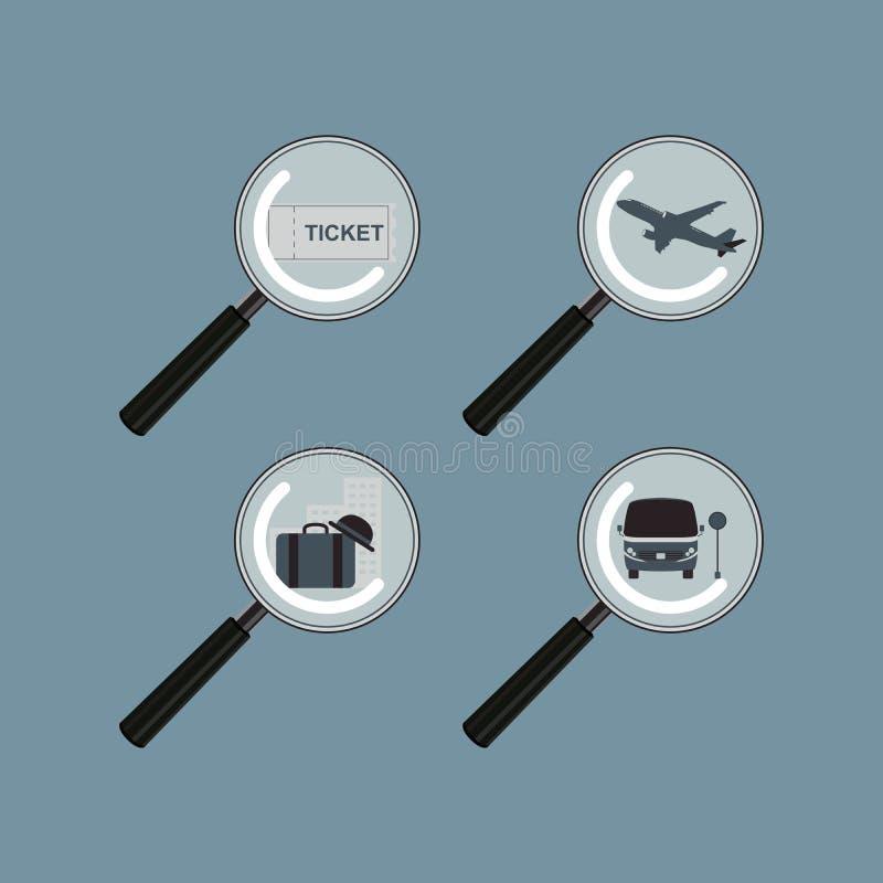 Zoek en vindt het Vervoer van het de Bestemmingshotel van de Reisreis stock illustratie