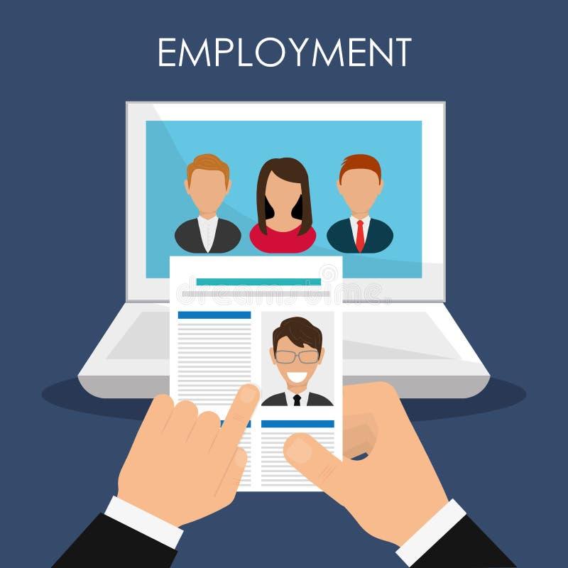 Zoek en vindt werkgelegenheid vector illustratie