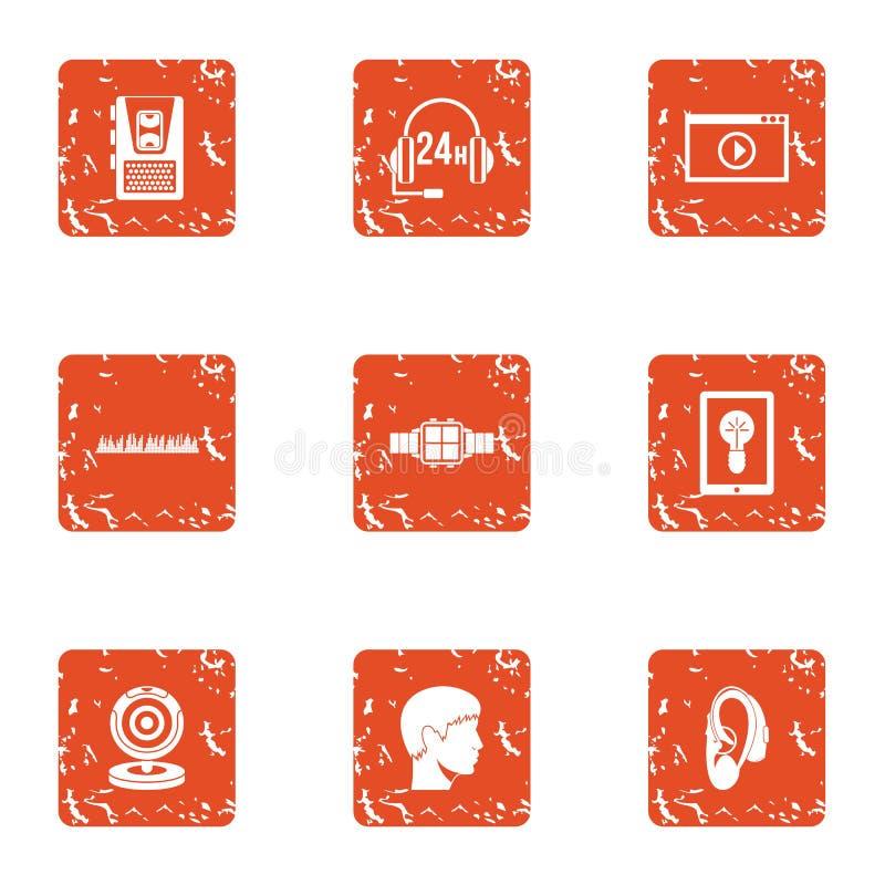 Zoek geplaatste online pictogrammen, grunge stijl stock illustratie