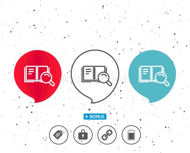 Zoek in het pictogram van de Boeklijn Onderwijssymbool stock illustratie