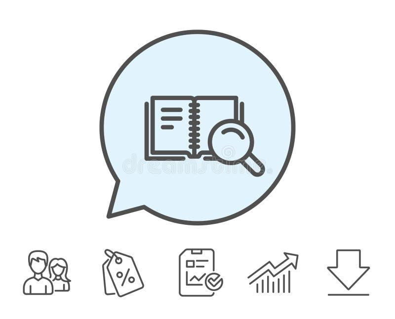 Zoek in het pictogram van de Boeklijn Onderwijssymbool vector illustratie