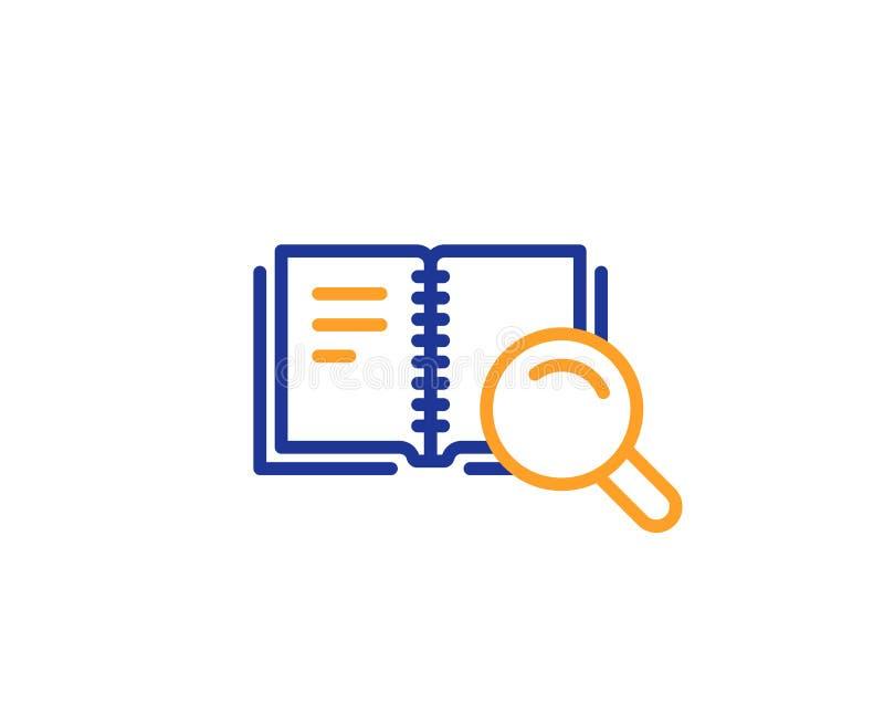 Zoek in het pictogram van de Boeklijn Onderwijssymbool Vector stock illustratie