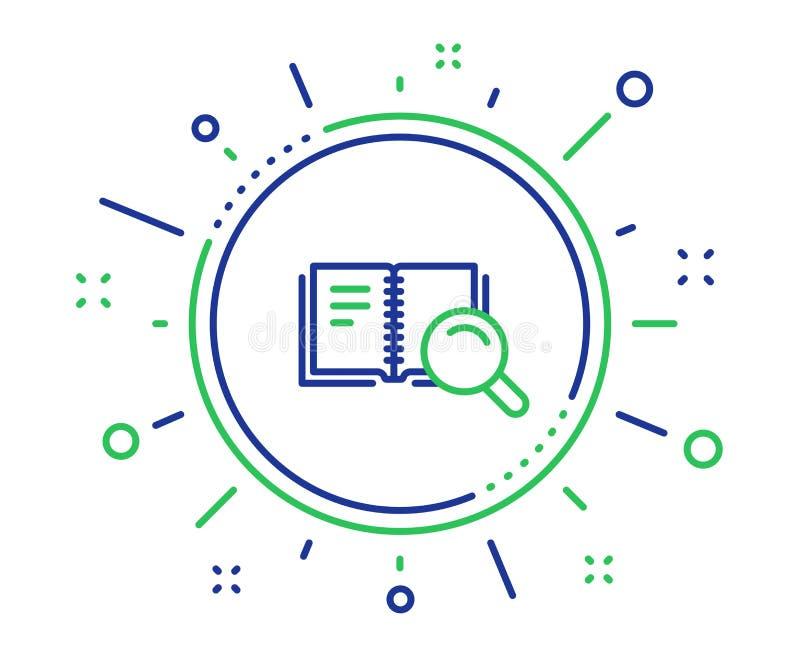 Zoek in het pictogram van de Boeklijn Onderwijssymbool Vector vector illustratie