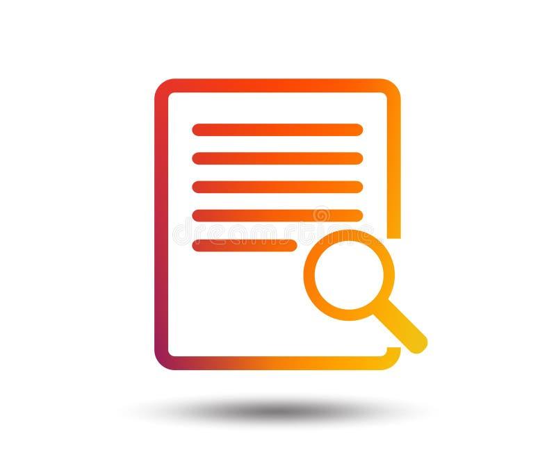 Zoek in het pictogram van het dossierteken Vind in document stock illustratie