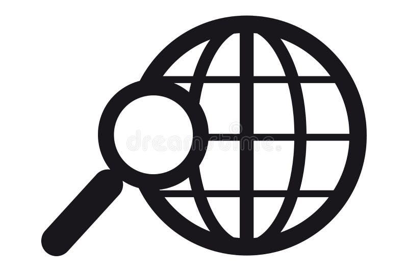 Zoek in het VectordiePictogram van World Wide Web - op Wit wordt geïsoleerd royalty-vrije illustratie