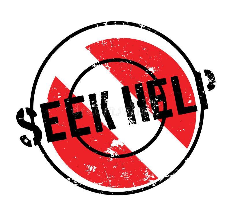 Zoek Hulp rubberzegel stock illustratie
