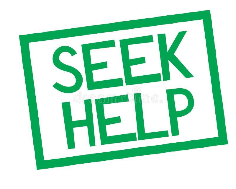 Zoek hulpzegel op wit stock illustratie
