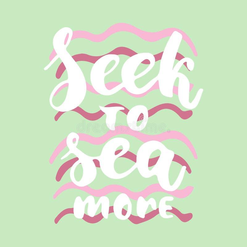 Zoek meer aan overzees - de hand getrokken het van letters voorzien inschrijving van de de borstelinkt van de citaat kleurrijke p stock illustratie
