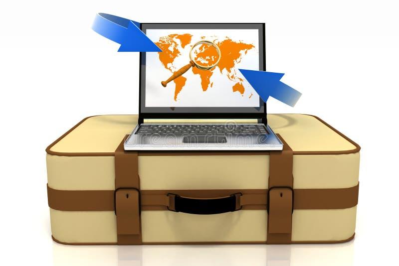Zoek met behulp van computer van route voor een reis royalty-vrije illustratie