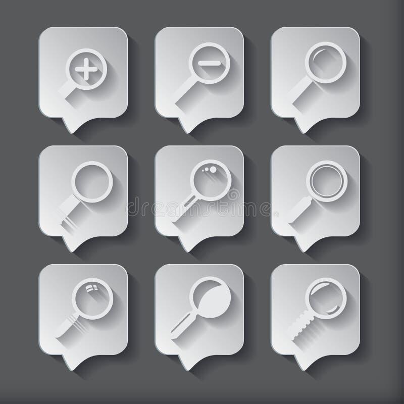 Zoek met Lupe Vlak stijl vierkant pictogram vector illustratie
