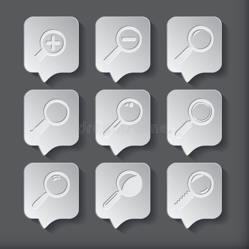 Zoek met Lupe Vlak stijl vierkant pictogram royalty-vrije illustratie