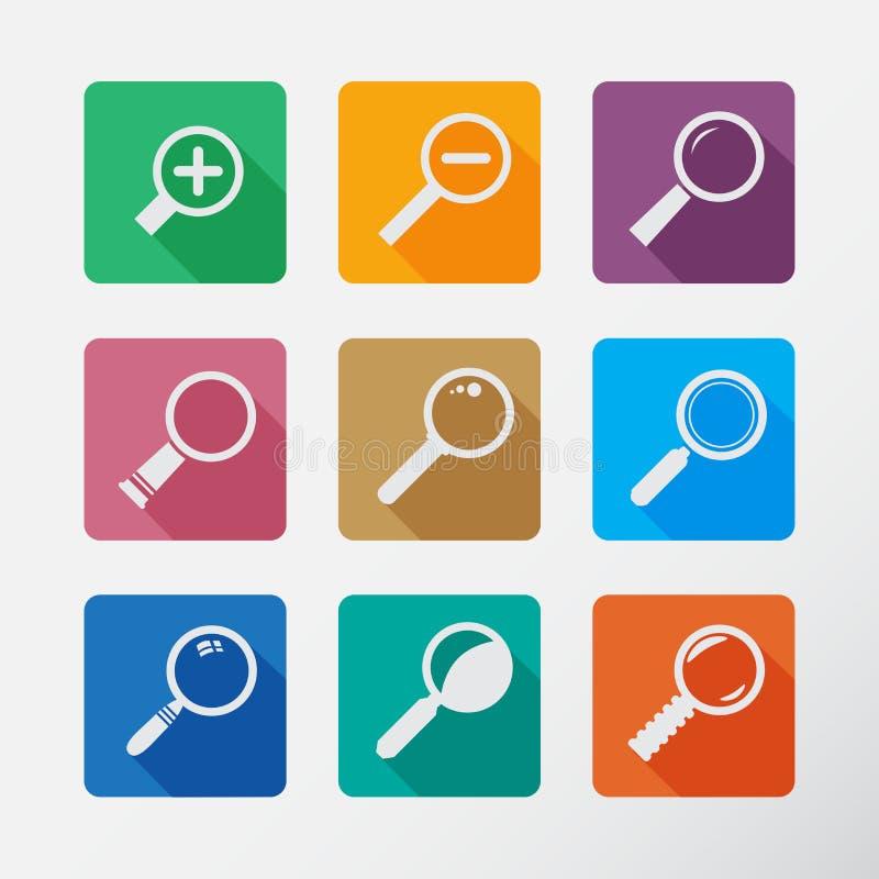 Zoek met Lupe Vlak stijl vierkant pictogram stock illustratie