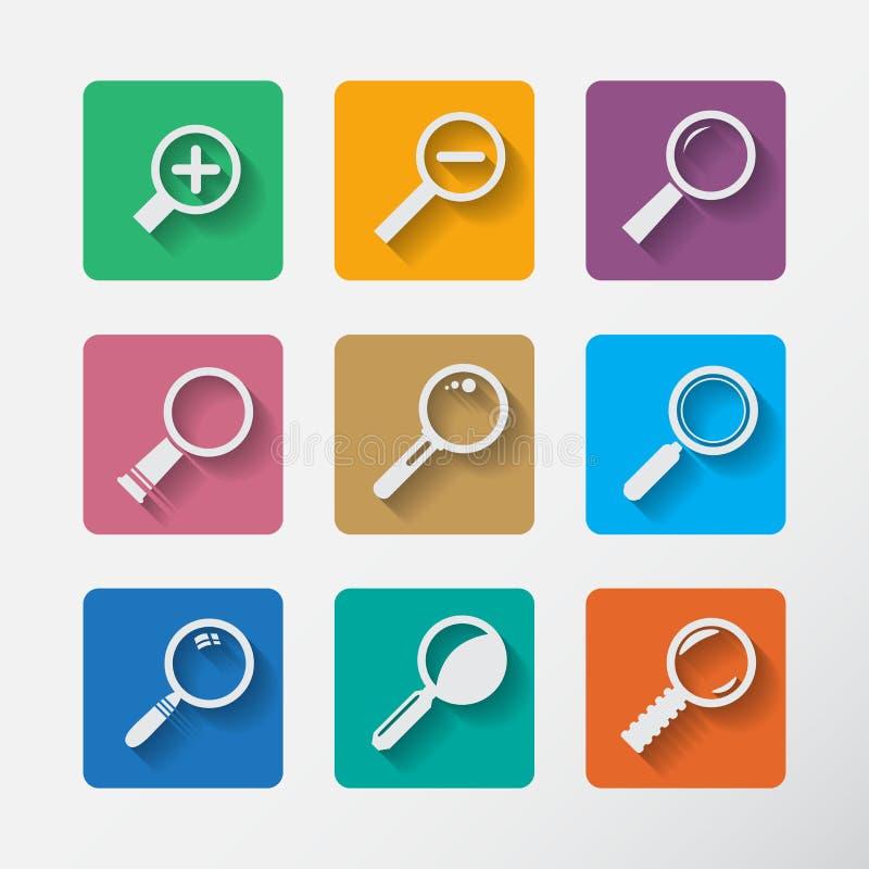 Zoek met Lupe Vlakke geplaatste stijlpictogrammen stock illustratie