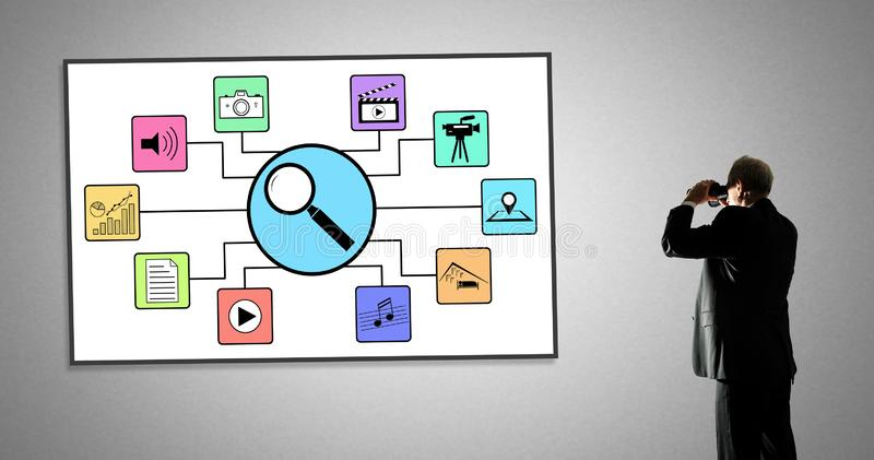 Zoek naar appsconcept op een whiteboard vector illustratie