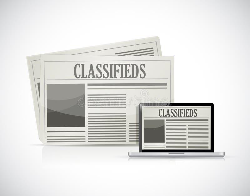 Zoek naar classifieds op een computerillustratie vector illustratie