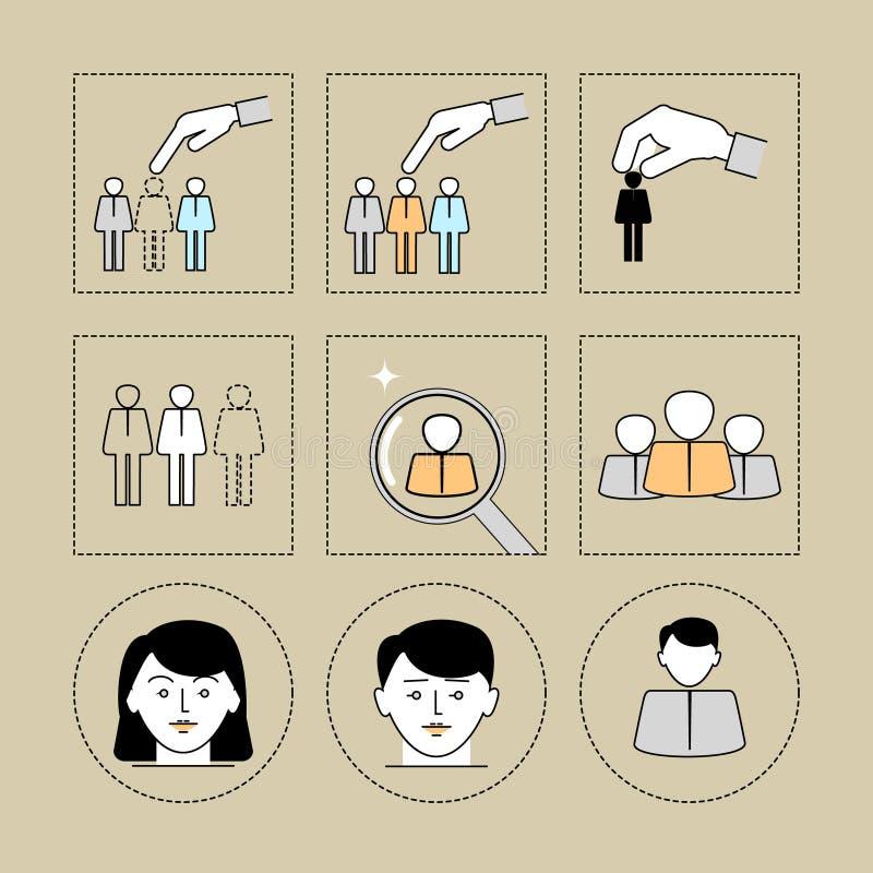 Zoek naar collega's De mensen zoeken Pictogrammen geplaatst lineair F stock illustratie