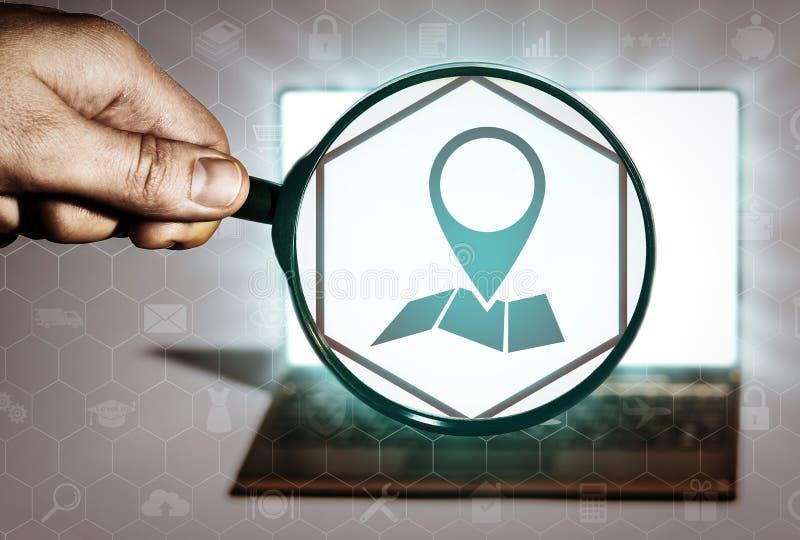 Zoek naar contacten van organisaties, plaatsen en voorwerpen royalty-vrije illustratie