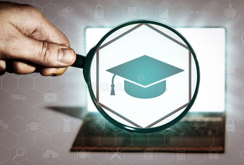 Zoek naar cursussen, onderwijsinstellingen, onderwijsprogramma's vector illustratie