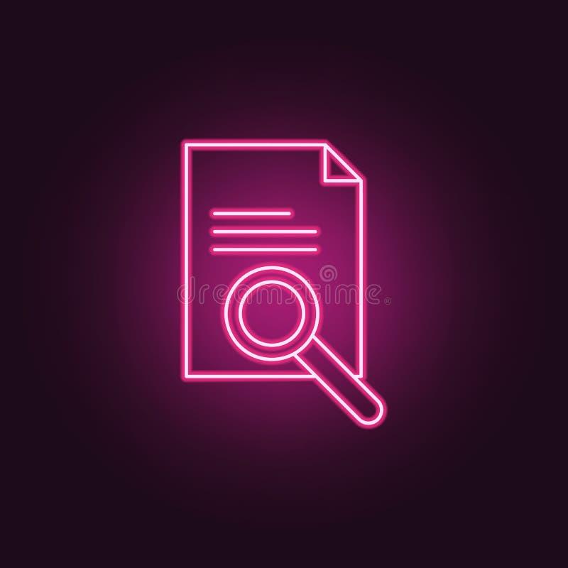 zoek naar documentenpictogram Elementen van Misdaadonderzoek in de pictogrammen van de neonstijl Eenvoudig pictogram voor website vector illustratie